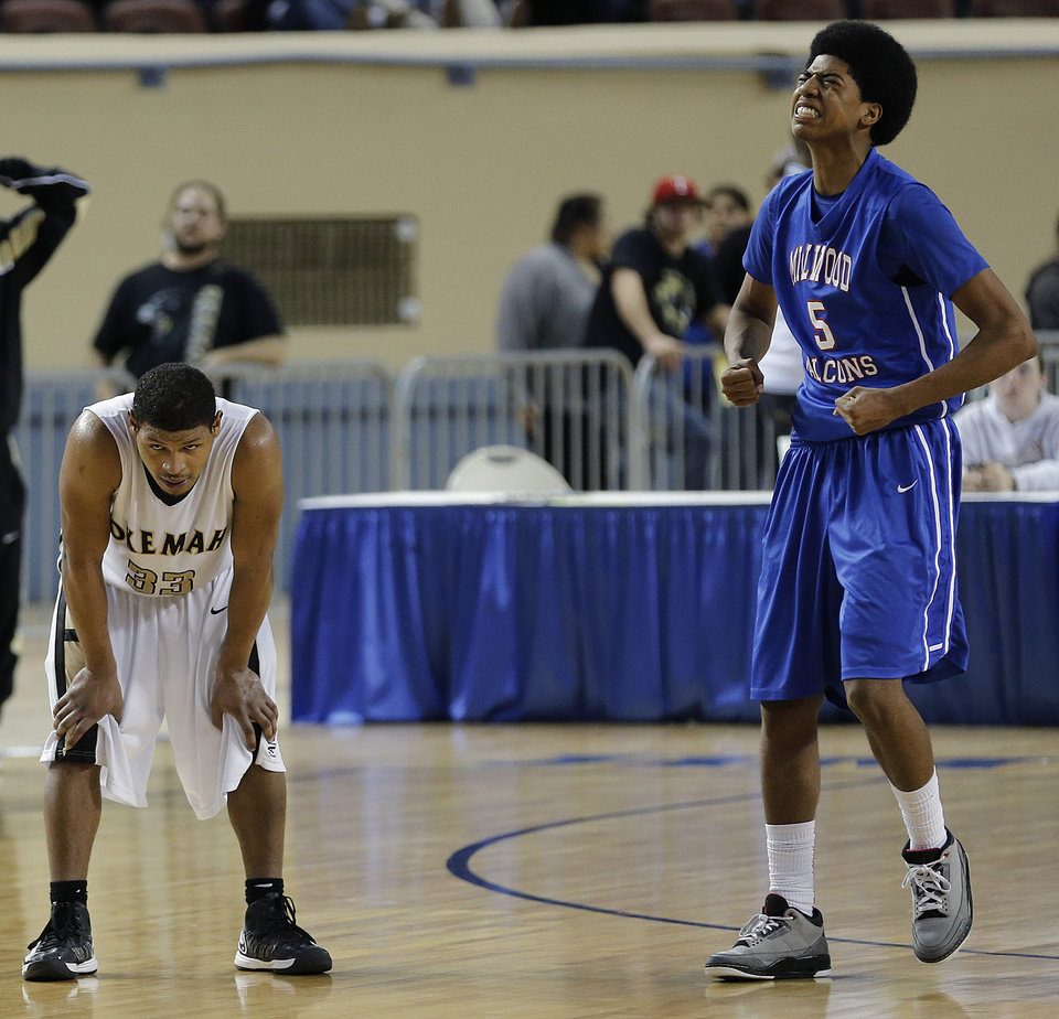 Photo - Millwood's Cameron Batson (5) reacts in the final second of the triple overtime win in front of Okemah's Stoney Newton (33)  during the state high school basketball tournament Class 3A boys championship game between Millwood High School and Okemah High School at the State Fair Arena on Saturday, March 9, 2013, in Oklahoma City, Okla. Photo by Chris Landsberger, The Oklahoman