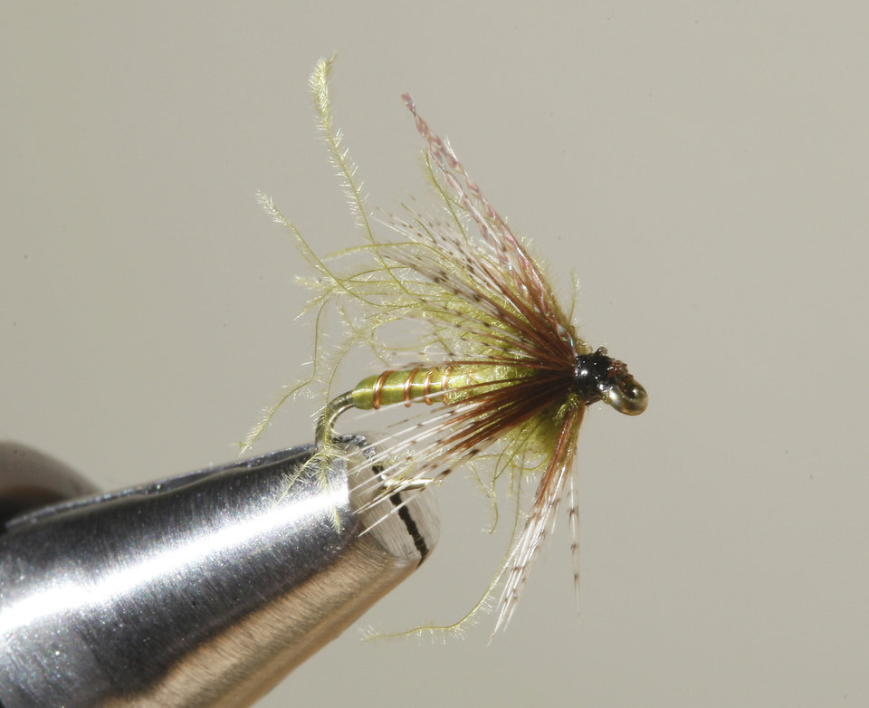 A Olive Soft Hackle fly for fly fishing at Backwoods in Oklahoma City Thursday, Jan. 17, 2013.  Photo by Paul B. Southerland, The Oklahoman