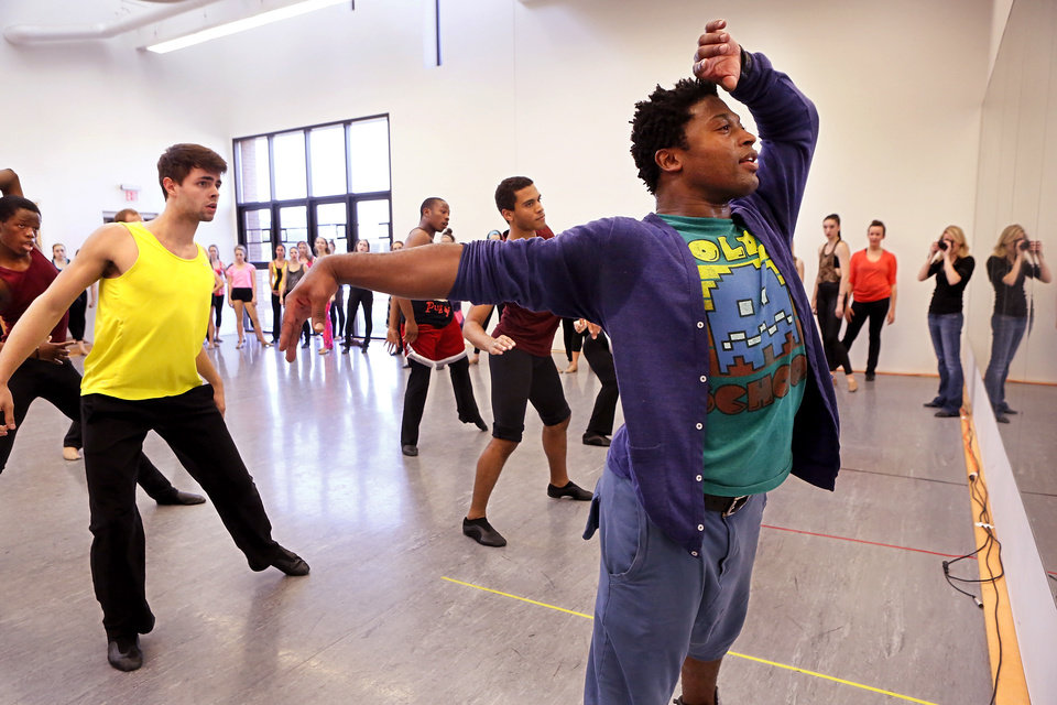Leading choreographers and OCU alumni, brothers Marcel and Kevin, at right,  Wilson returned to Oklahoma City University to teach a dance class on Friday, Nov. 2, 2012, in the Ann Lacy School of American Dance and Arts Management on the school's campus. The Wilson brothers are well known in the music and dance industry  for  their cutting-edge choreography and unique fusion of jazz, contemporary, hip hop, pop and musical-theater dance. They have performed with recording artists including Madonna, Beyonce, the late Whitney Houston and have toured globally with entertainers such as Janet Jackson, Britney Spears and Christina Aguilera.    Photo by Jim Beckel, The Oklahoman