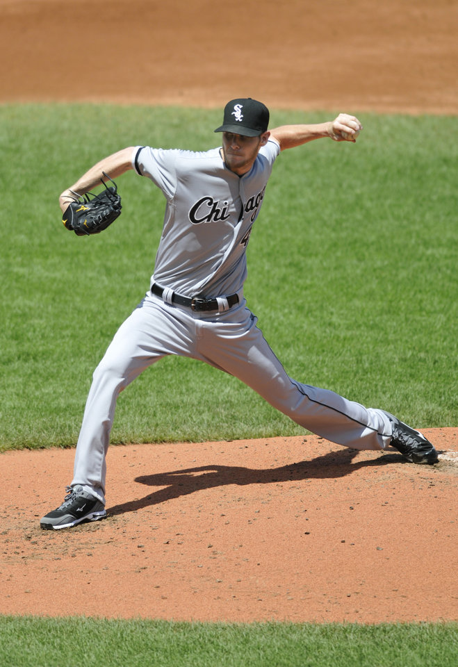 Chicago White Sox pitcher Chris Sale delivers against the Cleveland Indians in the second inning of a baseball game, Thursday, Aug. 1, 2013, in Cleveland. (AP Photo/David Richard)