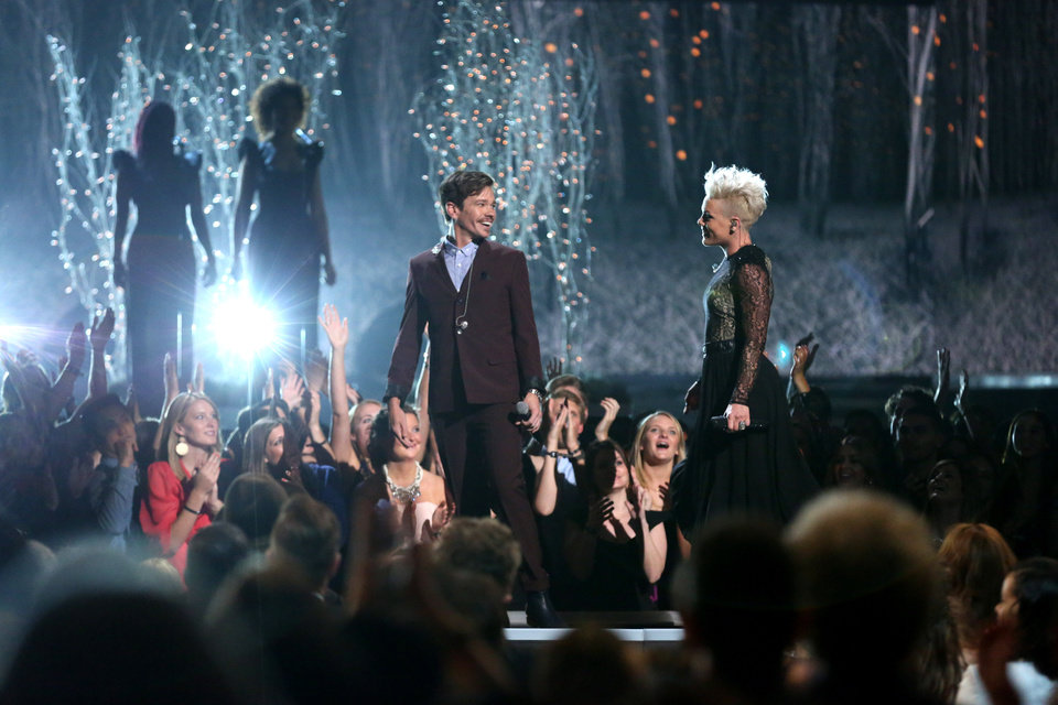 """Photo - Nate Ruess, left, and Pink perform """"Just Give Me a Reason"""" on stage at the 56th annual Grammy Awards at Staples Center on Sunday, Jan. 26, 2014, in Los Angeles. (Photo by Matt Sayles/Invision/AP)"""