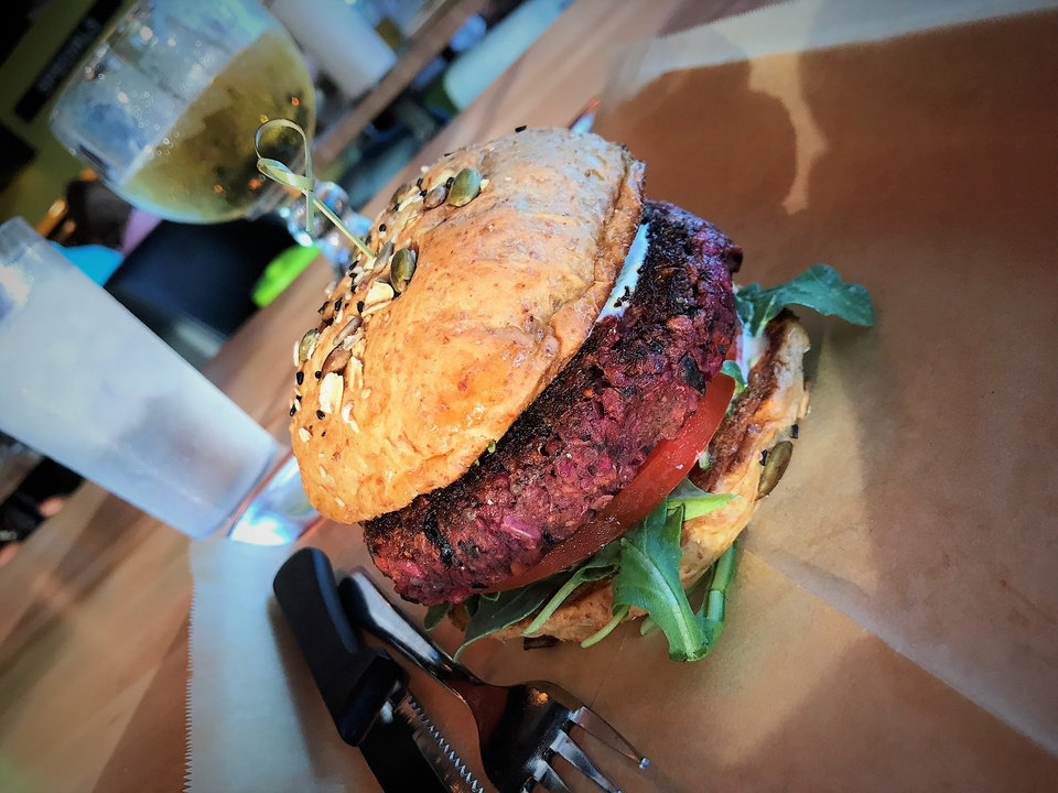 Photo -  La Bandita is Hopdoddy's house-made veggie burger.  [Photo by Dave Cathey, The Oklahoman]
