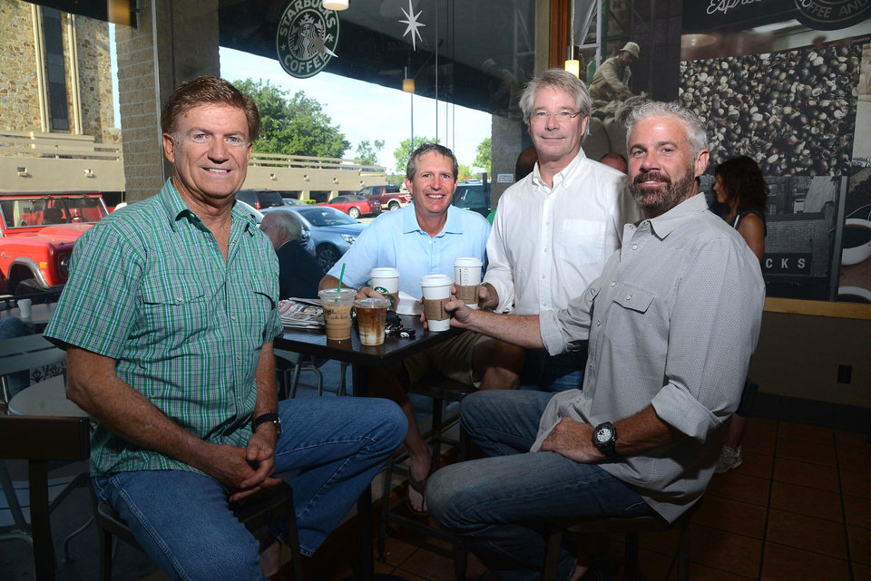 Photo - Reggie Wells, John Dunn, Brian Tibbs, Scott Woolum get together at the Nichols Hills Starbucks. PHOTO BY DAVID FAYTINGER, FOR THE OKLAHOMAN