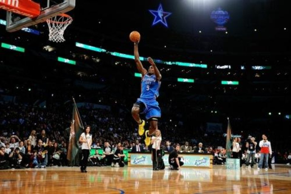 LOS ANGELES, CA - FEBRUARY 19: Serge Ibaka #9 of the Oklahoma City Thunder dunks the ball from the free throw line in the Sprite Slam Dunk Contest apart of NBA All-Star Saturday Night at Staples Center on February 19, 2011 in Los Angeles, California. NOTE TO USER: User expressly acknowledges and agrees that, by downloading and or using this photograph, User is consenting to the terms and conditions of the Getty Images License Agreement. (Photo by Kevork Djansezian/Getty Images)