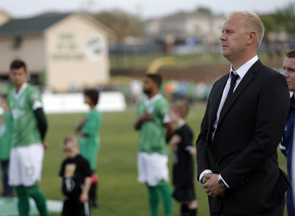 Photo - Jimmy Nielson stands during National Anthem before the OKC Energy FC soccer game against Orlando City SC at Pribil Stadium in Oklahoma City, Saturday, April 26, 2014. Photo by Sarah Phipps, The Oklahoman