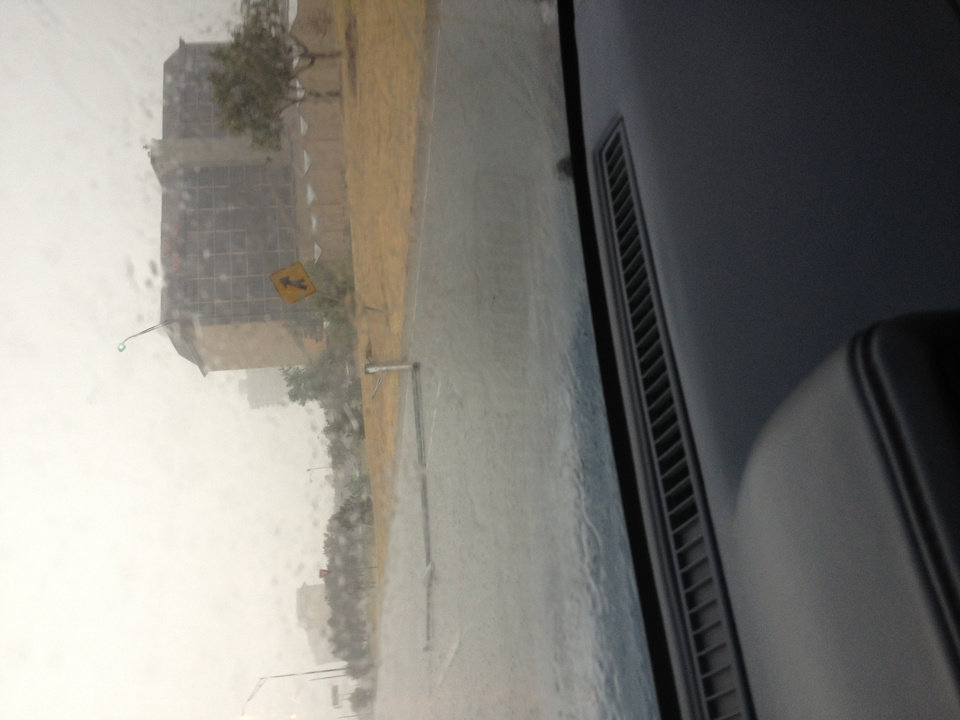 Photo - Downed streetlight at nw expressway and may. Appears to be weather related. Photo by Jay Spear