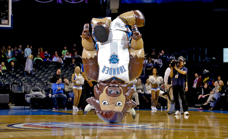 Photo - Air Rumble performs during the NBA Developmental game between the Tulsa 66ers and the Iowa Energy at the Chesapeake Energy Arena in Oklahoma City, Okla. on Tuesday, Feb. 4, 2014. Photo by Chris Landsberger, The Oklahoman