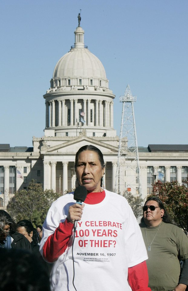 Photo - Casey Camp/Horinek of Ponca City, a founding member of the remembrance of the Indian movement, speaks during the Oklahoma Indians Survival Walk and Remembrance Ceremony Friday, Nov. 16, 2007 near the state Capitol. BY JACONNA AGUIRRE/THE OKLAHOMAN.