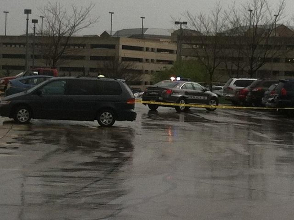 Photo - In this photo provided by KSHB41 Action News, authorities respond the Jewish community center after a shooting in Overland Park, Kan., Sunday, April 13, 2014. (AP Photo/KSHB41 Action News) MANDATORY CREDIT; NO SALES
