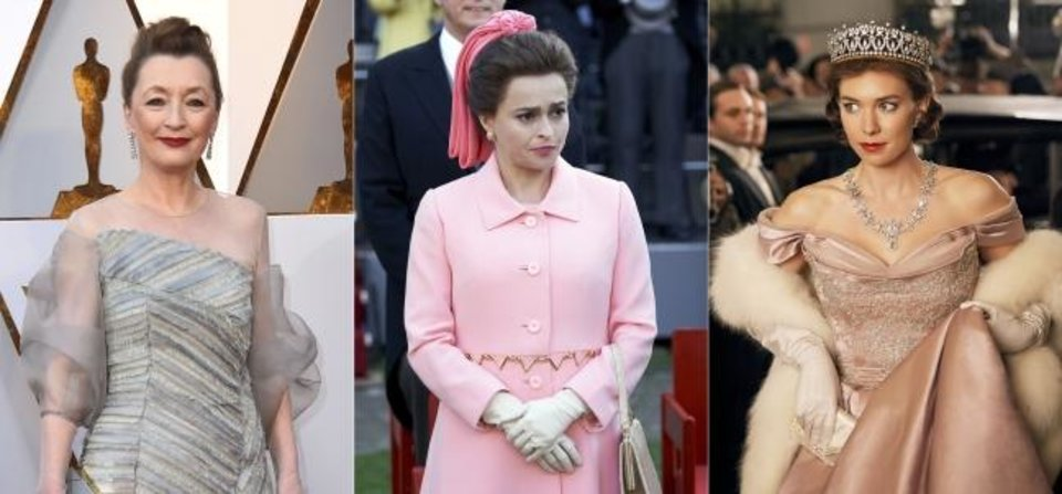 Photo -  This combination photo shows actress Lesley Manville at the Oscars in Los Angeles on March 4, 2018, from left, Helena Bonham-Carter portraying Princess Margaret in season three of