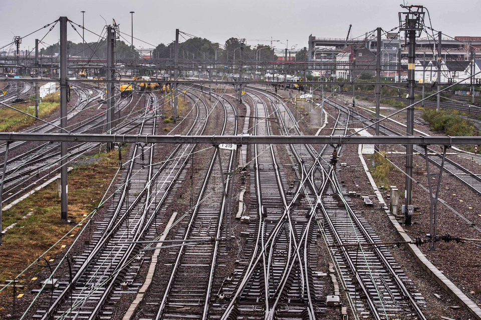 Empty tracks at Schaarbeek train station in Brussels, Wednesday, Oct. 3, 2012. A 24-hour strike by Belgian rail workers on Wednesday paralyzed train traffic throughout Belgium and the international high-speed service to London and Paris. The strike, which started late Tuesday, reached its peak during the Wednesday morning rush hour when tens of thousands of commuters had to take to traffic-choked highways to get into the capital or work. (AP Photo/Geert Vanden Wijngaert)