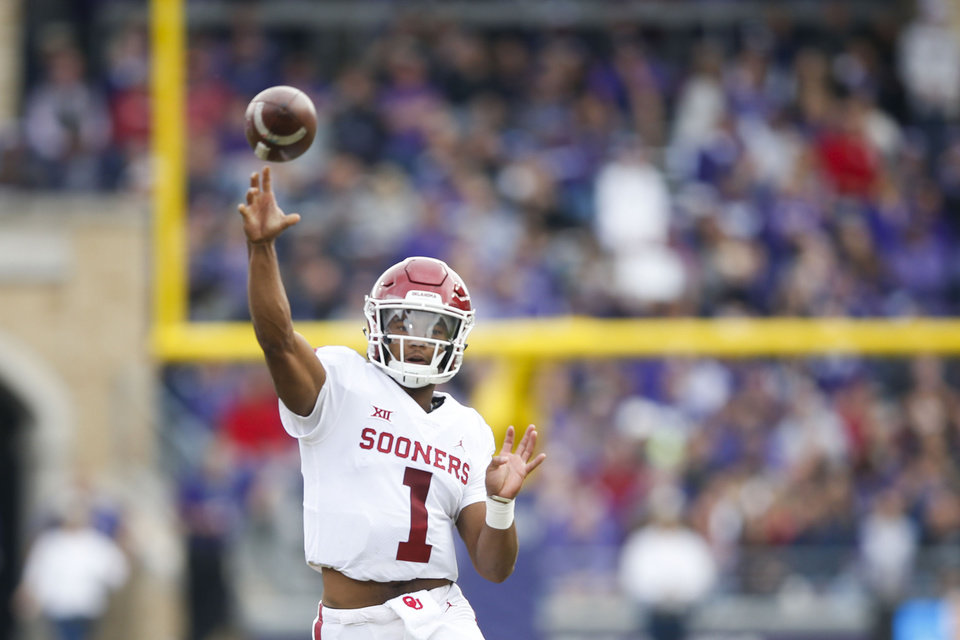 Photo - Oklahoma Sooners quarterback Kyler Murray (1) throws a pass during the NCAA football game between the TCU Horned Frogs and the Oklahoma Sooners at Amon G. Carter Stadium in Fort Worth, Texas on Saturday, October 20, 2018. IAN MAULE/Tulsa World