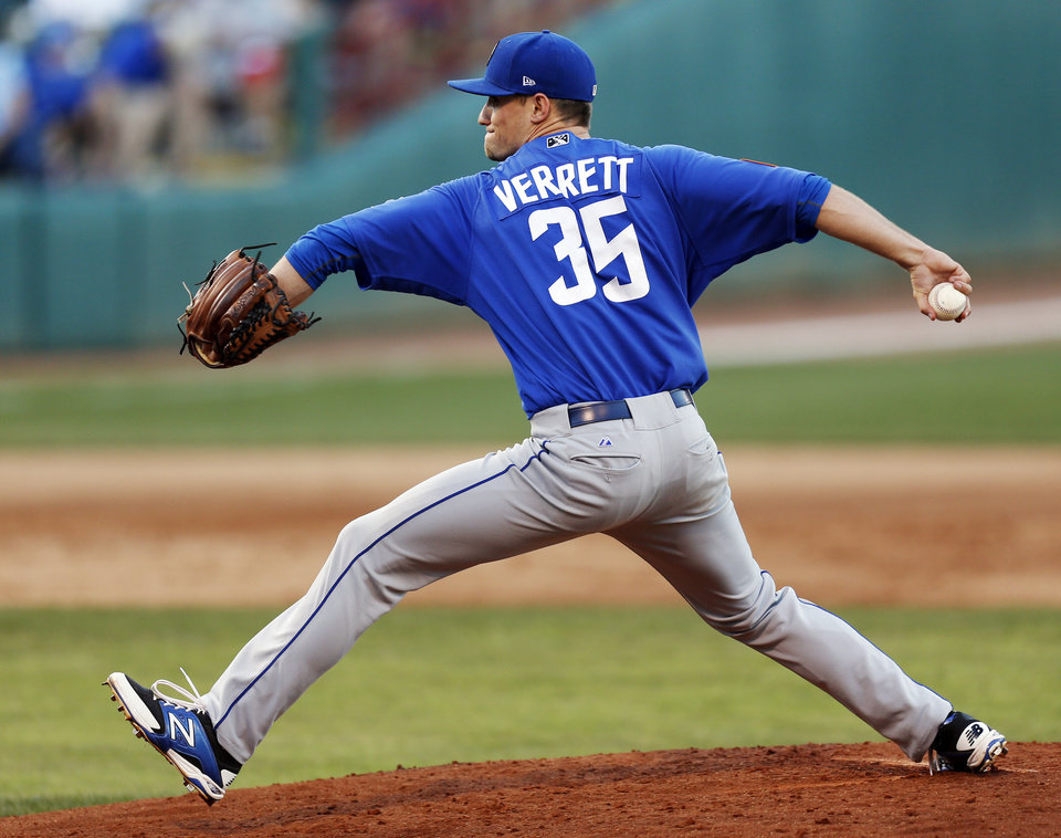 Photo - Logan Verrett (35) pitches for Las Vegas during a minor league baseball game between the Oklahoma City RedHawks and the Las Vegas 51s at the Chickasaw Bricktown Ballpark in Oklahoma City, Friday, June 13, 2014. Photo by Nate Billings, The Oklahoman