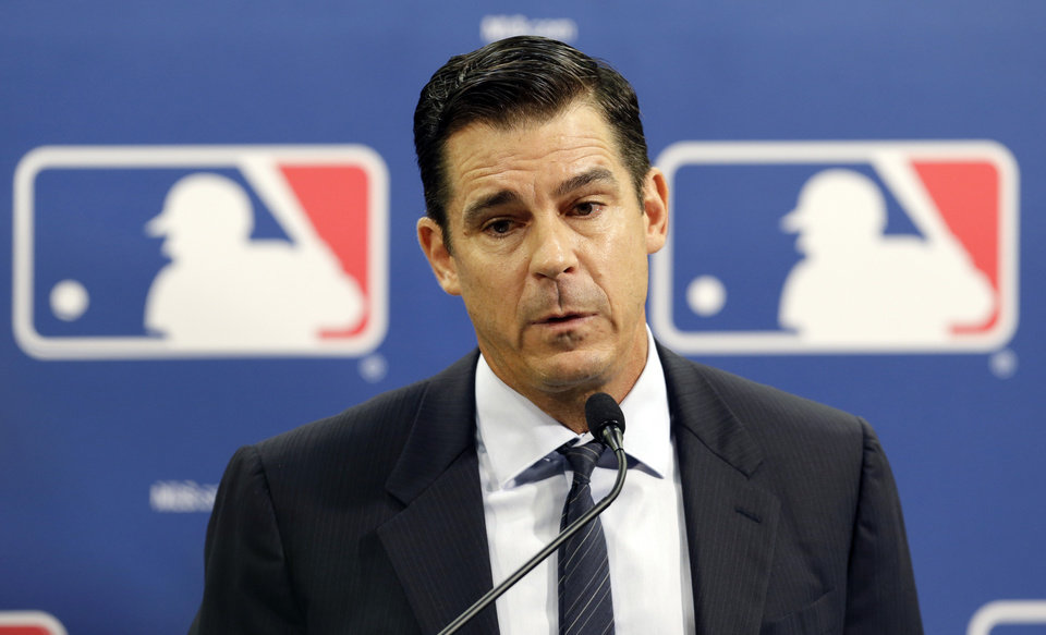 Photo - Former major league outfielder Billy Bean speaks during a news conference at baseball's All-Star game, Tuesday, July 15, 2014, in Minneapolis. Major League Baseball has appointed Bean, who came out as gay after his playing career, to serve as a consultant in guiding the sport toward greater inclusion and equality. (AP Photo/Paul Sancya)