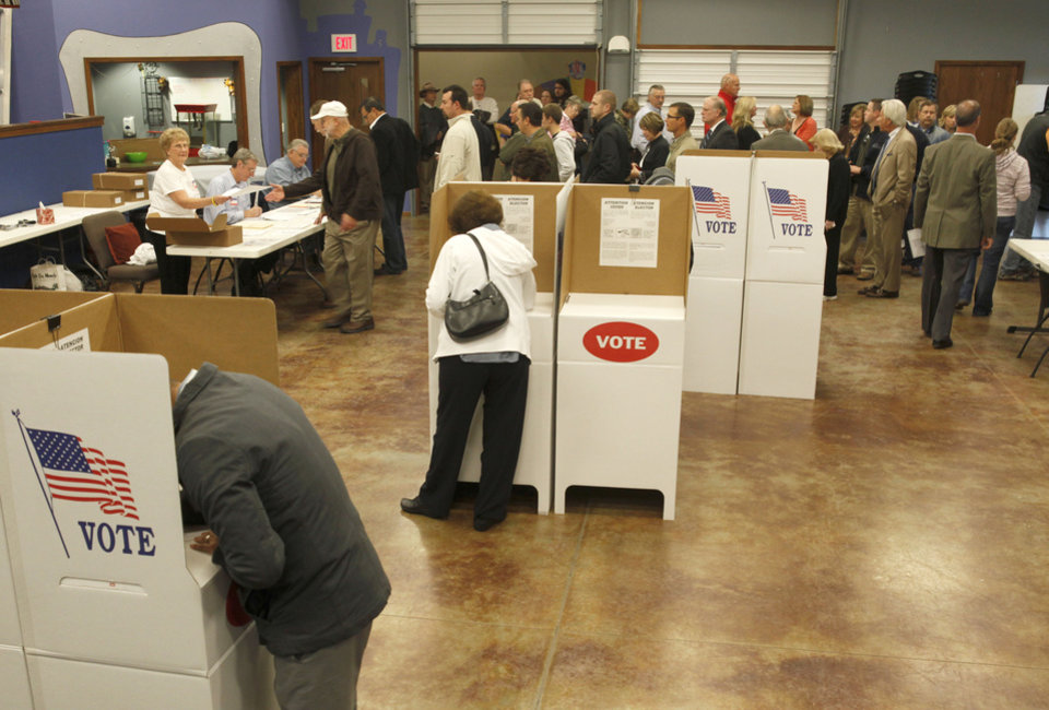 Long voter lines had formed at 6:30 AM at Precinct 345 in Edmond, OK, Tuesday, November 6, 2012,  By Paul Hellstern, The Oklahoman