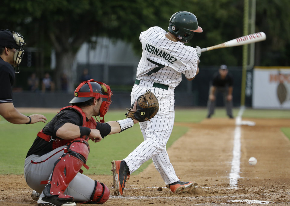 Photo - Miami's Alexander Hernandez (7) grounds out to third as Texas Tech catcher Hunter Redman look on in the second inning during an NCAA college baseball regional tournament in Coral Gables, Fla., Saturday, May 31, 2014. (AP Photo/Lynne Sladky)