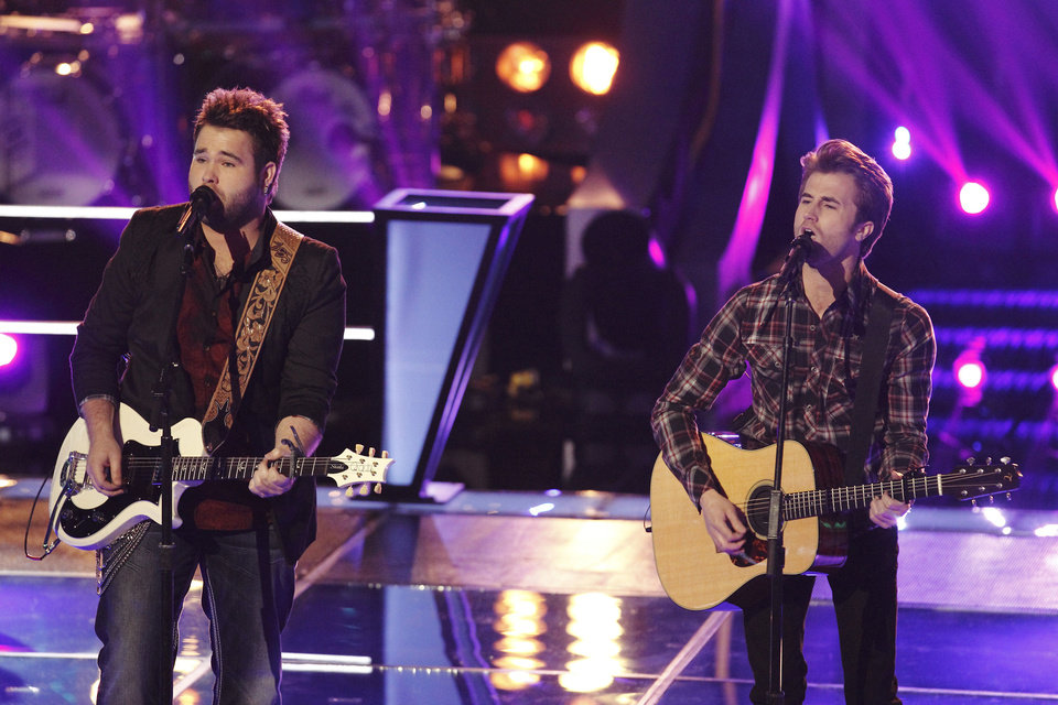 "The Swon Brothers are shown performing during the Knockout Rounds of ""The Voice.""  NBC PHOTO <strong>NBC</strong>"