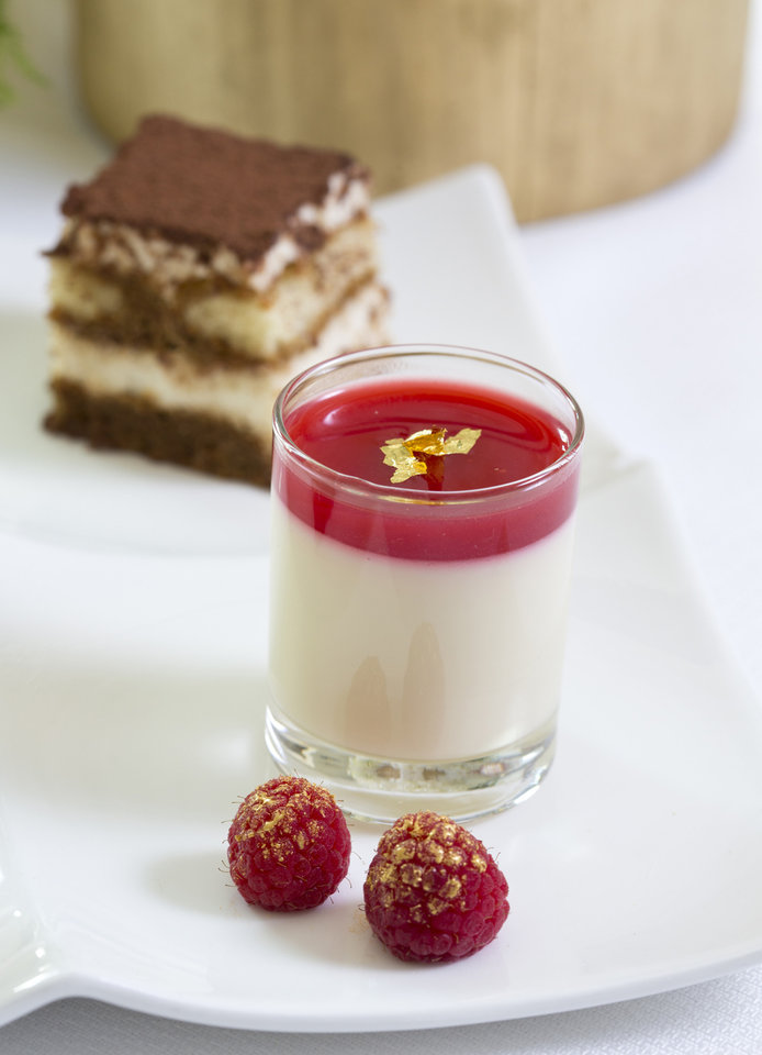 "For holiday entertaining try a Nutcracker theme serving a dessert duo of panna cotta with sugar plum sauce and ""Arabian"" chocolate tiramisu. (Ross Hailey/Fort Worth Star-Telegram/MCT)"