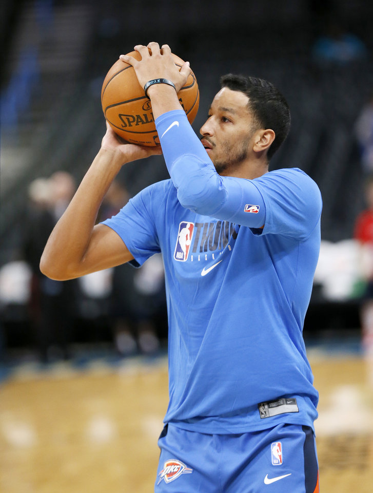 Photo - Oklahoma City's Andre Roberson (21) shoots before an NBA basketball game between the Oklahoma City Thunder and the Washington Wizards at Chesapeake Energy Arena in Oklahoma City, Friday, Oct. 25, 2019. Roberson was ruled out for the game. [Nate Billings/The Oklahoman]