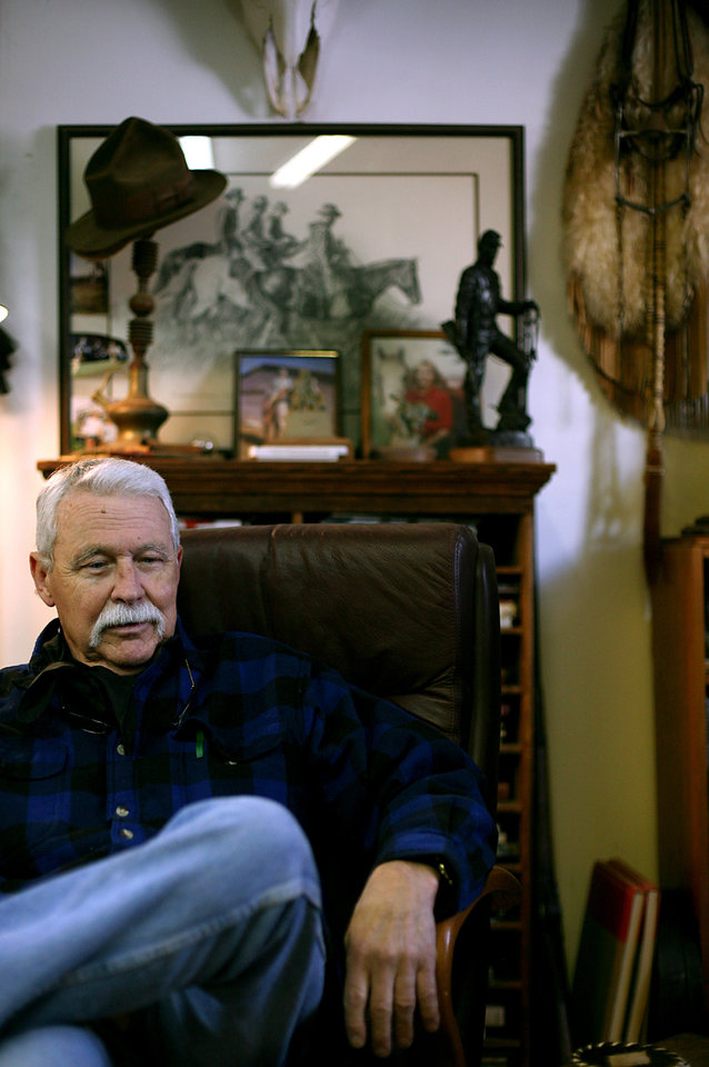 Surrounded by his work, family pictures and other western memorabilia, artist Harold Holden talks about his artwork at his studio in Kremlin, Okla., on Thursday, Jan. 20, 2011. Photo by John Clanton, The Oklahoman