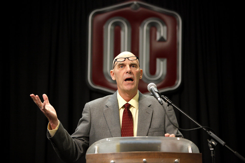 Former basketball coach Don Meyer speaks during the Oklahoma Christian University Athletic Hall of Fame induction ceremony in Oklahoma City, Friday, Jan. 20, 2012. Photo by Bryan Terry