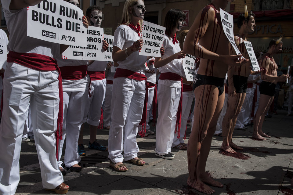 Photo - Anti-bullfighting demonstrators, with their bodies covered with blood, right, protest against the bull runs on the Ayuntamiento Square in Pamplona northern Spain, Saturday, July 5, 2014. On July 6, the San Fermin festival will begin with the ''txupinazo'' , the opening ceremony with people participating in bull runs, music and dance, through the old street of the city. (AP Photo/Alvaro Barrientos)