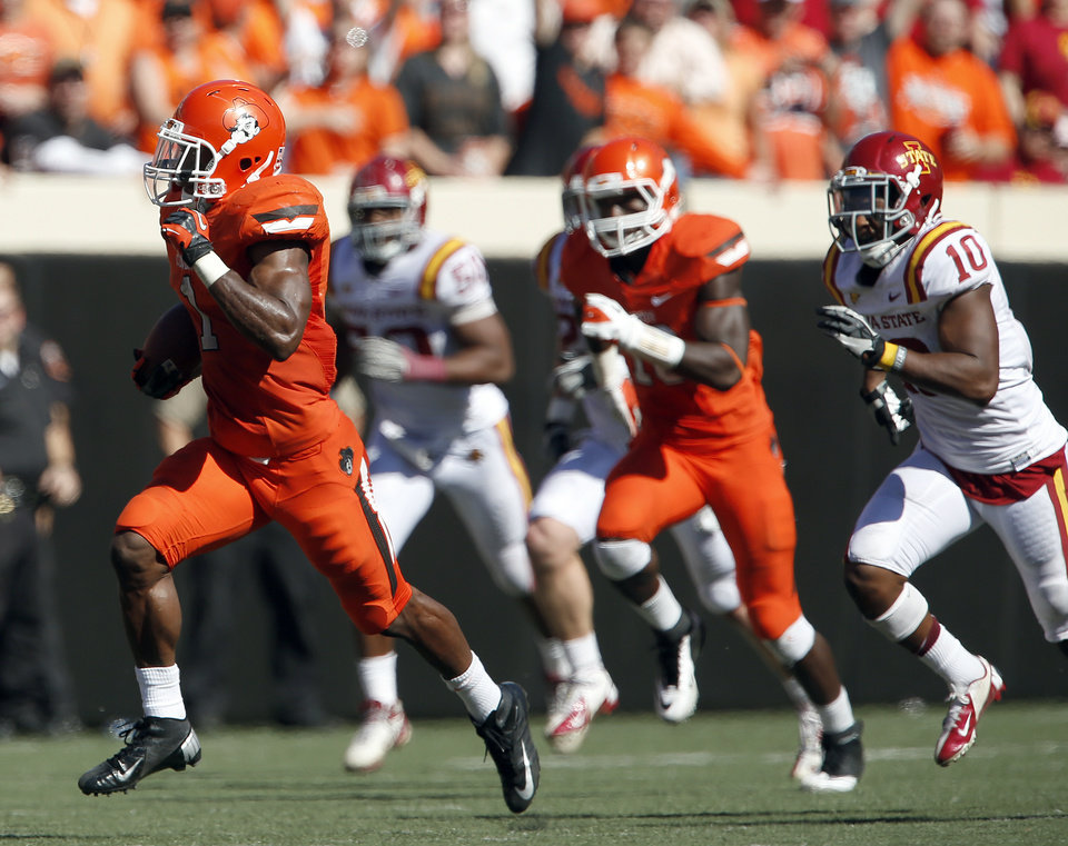Photo - Oklahoma State's Joseph Randle (1) rushes for 62 yards in fourth quarter during a college football game between Oklahoma State University (OSU) and Iowa State University (ISU) at Boone Pickens Stadium in Stillwater, Okla., Saturday, Oct. 20, 2012. Photo by Sarah Phipps, The Oklahoman