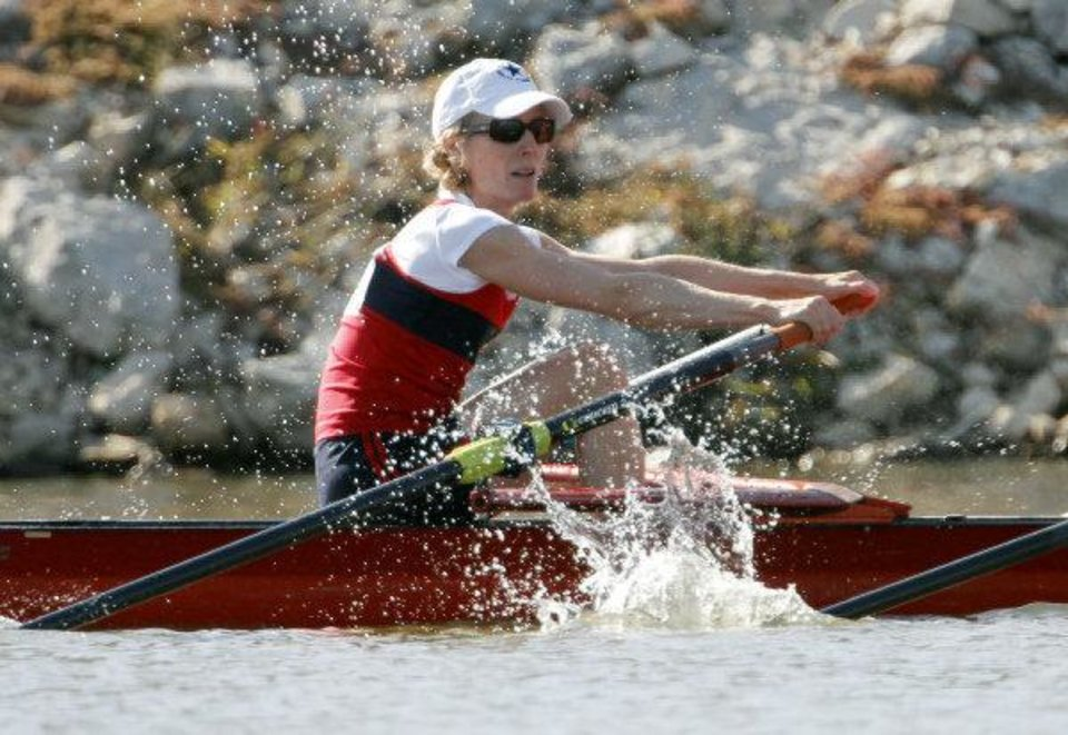 Photo - Amy Molenaar and her teammate compete in the Mixed Masters 2x during the 2011 Head of the Oklahoma Regatta Oklahoma River in Oklahoma City on Sunday, October 2, 2011. Photo by John Clanton, The Oklahoman ORG XMIT: KOD  JOHN CLANTON - John Clanton
