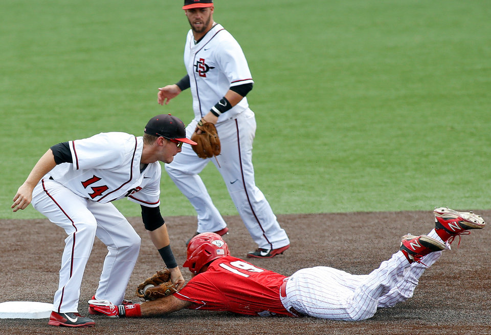 Photo - San Diego State shortstop Evan Potter (14) tags out Louisiana-Lafayette's Jace Conrad (19) on an attempted steal in the first inning of an NCAA college baseball tournament regional game in Lafayette, La., Saturday, May 31, 2014. (AP Photo/Jonathan Bachman)