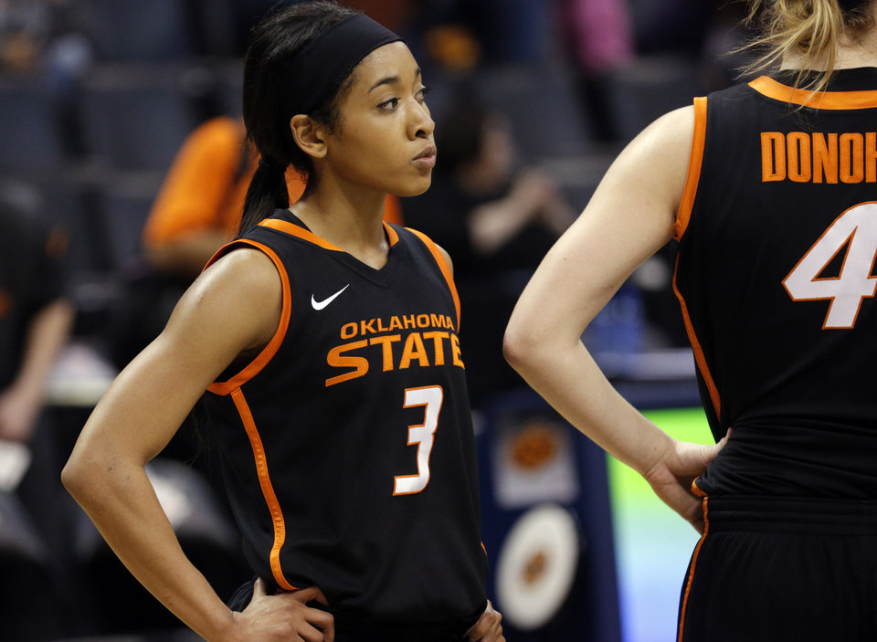 Photo - Oklahoma State's Tiffany Bias said the Cowgirls are looking forward to playing someone new after the grind of the Big 12 season.