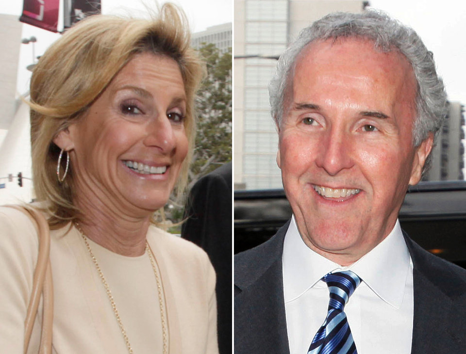 FILE - At left in a Nov. 19, 2010 file photo, Jamie McCourt arrives at court in Los Angeles. At right, in a Sept. 22, 2010 file photo, Frank McCourt arrives at court in Los Angeles. A couple of weeks before her ex-husband agreed to sell the Los Angeles Dodgers, Jamie McCourt reached a divorce settlement that gave her $131 million tax-free and several luxurious homes. Now she claims her decision was a huge mistake. (AP Photo/Nick, File)