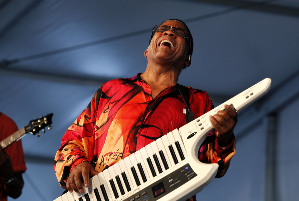 Herbie Hancock performs at the New Orleans Jazz and Heritage Festival in New Orleans, Saturday, May 5, 2012. (AP Photo/Gerald Herbert)