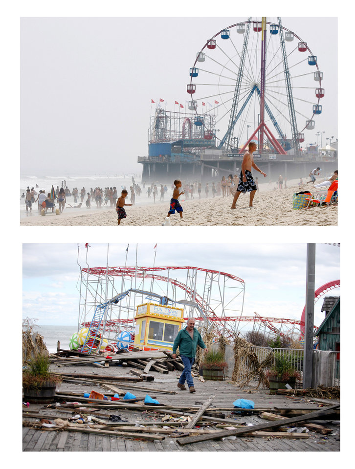 FILE- In this combination of two file photos, the Funtime Pier in Seaside Heights, N.J. is shown before and after superstorm Sandy made landfall on the Jersey Shore. At top in this Aug. 10, 2010 file photo, the Funtime Pier rises from the sand and surf at Seaside Heights on the New Jersey coast. Below, Funtime Pier Owner Billy Major surveys the damage on Wednesday, Oct. 31, 2012 after superstorm Sandy tore through the region and left only four rides standing. Top (AP Photo/Mel Evans) Bottom (AP Photo/Star-Ledger, David Gard/POOL)
