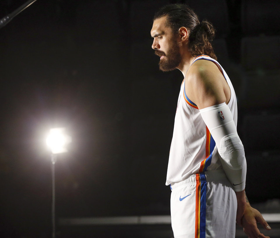 Photo - Oklahoma City's Steven Adams gives an interview during media day for the Oklahoma City Thunder NBA basketball team at Chesapeake Energy Arena in Oklahoma City, Monday, Sept. 30, 2019. [Nate Billings/The Oklahoman]