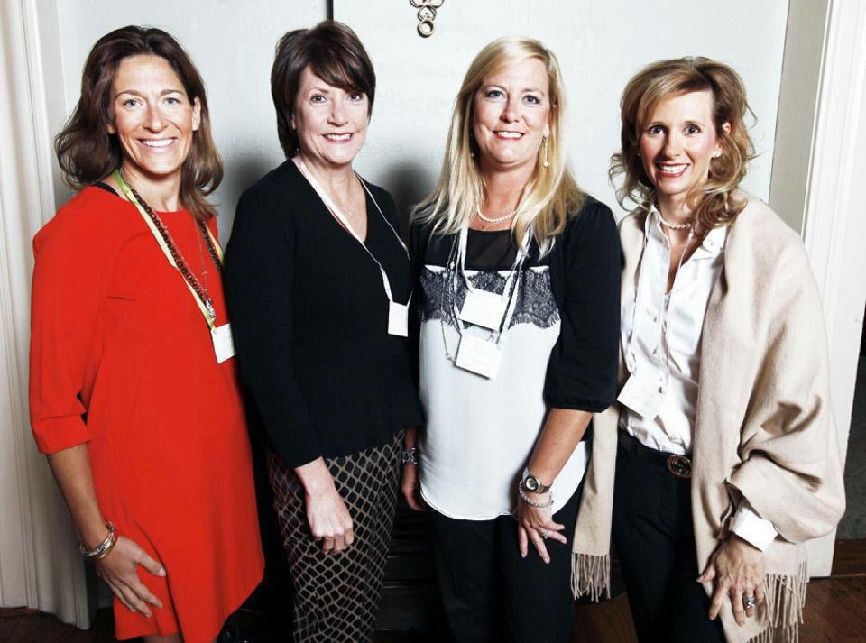Photo - Lauren Sullivan, Charlotte Mitchell, Diane Lippert and Kery Mueller attending he Beau Arts Society fall coffee at the Oklahoma City Golf and Country Club in Oklahoma City Tuesday, Oct. 8, 2013. Photo by Paul B. Southerland, The Oklahoman