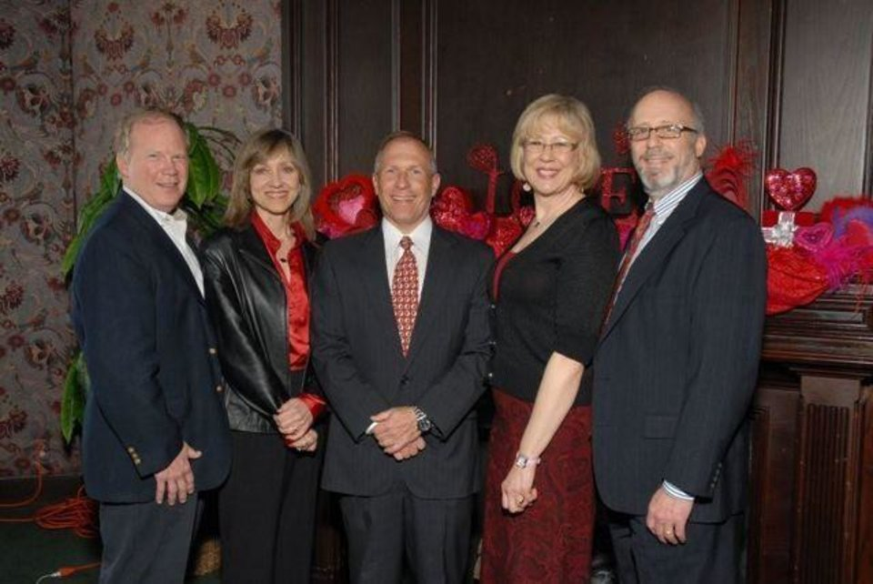 CHOCOLATE, ROSES AND MUSIC....Fletcher Williams,Vicki Williams, Chris  Tytanic, Noma Gurich and John Miley were at the Petroleum Club for   the Kiwanis Club of Oklahoma City's Valentine luncheon. ( Photo by  Jerry Hymer, For The Oklahoman).