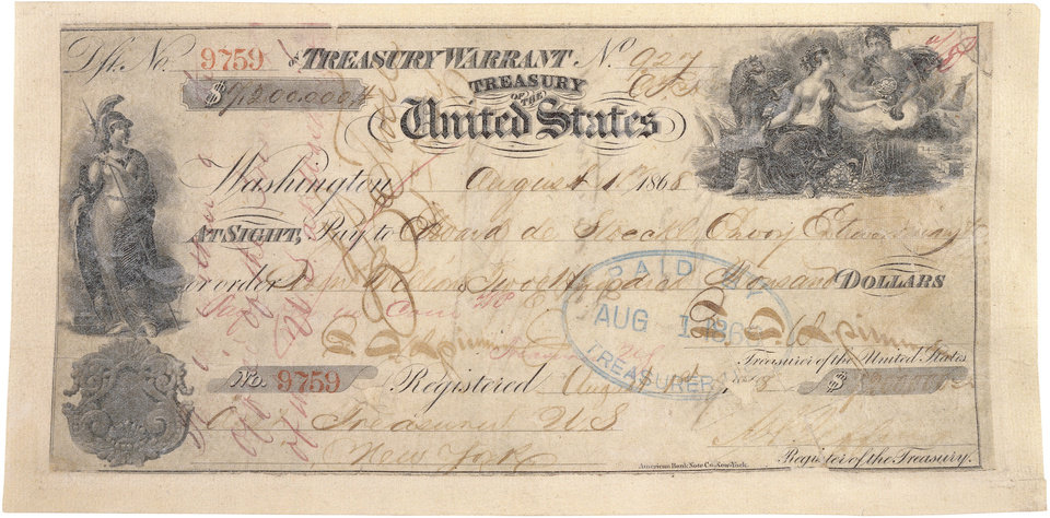 Stored at the National Archives and Records Administration is a canceled check from 1868 -- for the purchase of Alaska. PHOTO PROVIDED. <strong></strong>