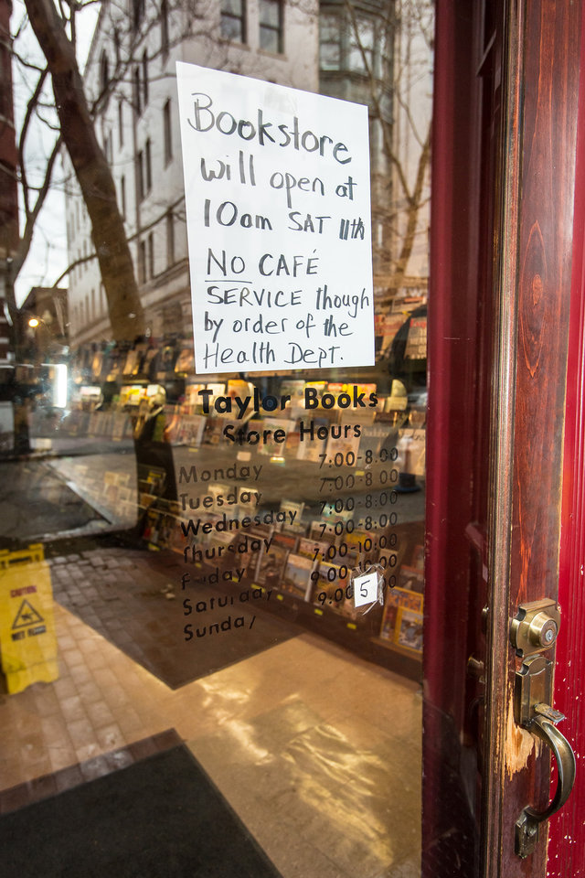 Photo - Local businesses are forced to stop serving food and drink by the Kanawha County,W.Va. Health Department Saturday, Jan. 11, 2014 following the chemical spill on Thursday, in Charleston, WV. About 300,000 people in nine counties entered their third day Saturday without being able to drink, bathe in, or wash dishes or clothes with their tap water after a foaming agent escaped the Freedom Industries plant in Charleston and seeped into the Elk River. (AP Photo Michael Switzer)