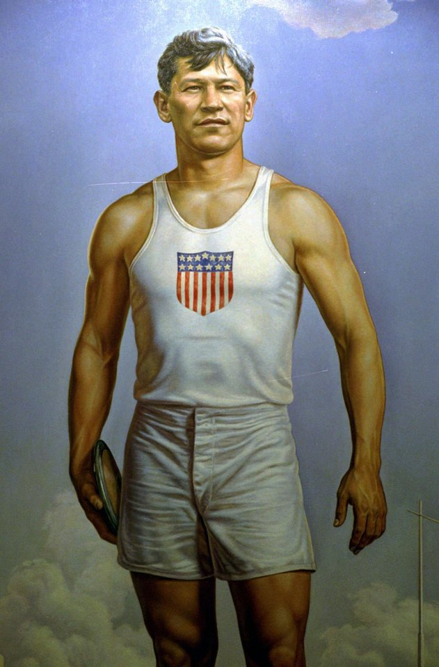 Photo - Oklahoma Olymphic athlete Jim Thorpe is the subject of a painting by Charles Banks Wilson.  THE OKLAHOMAN ARCHIVE  JIM ARGO
