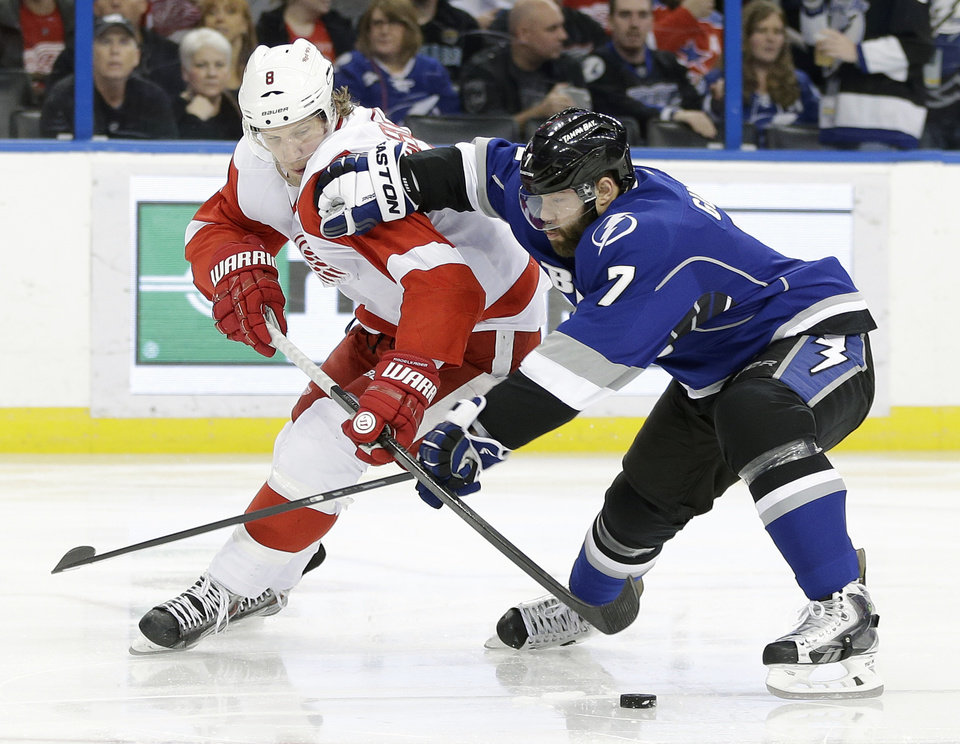 Photo - Tampa Bay Lightning defenseman Radko Gudas (7) knocks Detroit Red Wings left wing Justin Abdelkader (8) off the puck during the first period of an NHL hockey game, Saturday, Feb. 8, 2014, in Tampa, Fla. (AP Photo/Chris O'Meara)