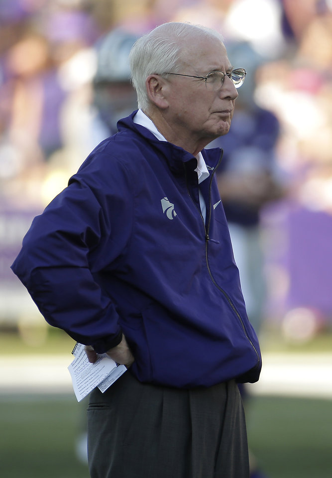 Photo - Kansas State coach Bill Snyder watches his team before a NCAA college football game against the Stephen F. Austin Saturday, Aug. 30, 2014, in Manhattan, Kan. (AP Photo/Charlie Riedel)