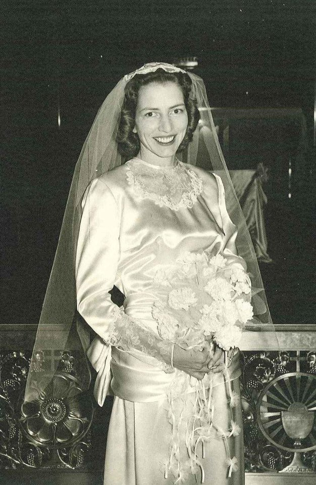 Photo - One gown, three brides. Mary Louise Khoury designed and made her own gown for her Nov. 30, 1957, wedding and she knew exactly what she wanted. Two of her daughters, Mary Ann Whitsett and Paula Schick, also wore the dress when they were married. Photo provided by Lauren Forest.  Provided