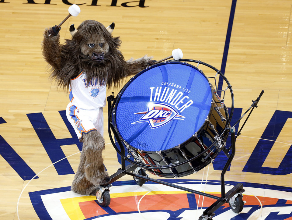 Photo - Rumble entertains fans during Game 6 of the Western Conference Finals in the NBA playoffs between the Oklahoma City Thunder and the San Antonio Spurs at Chesapeake Energy Arena in Oklahoma City, Saturday, May 31, 2014. Photo by Nate Billings, The Oklahoman