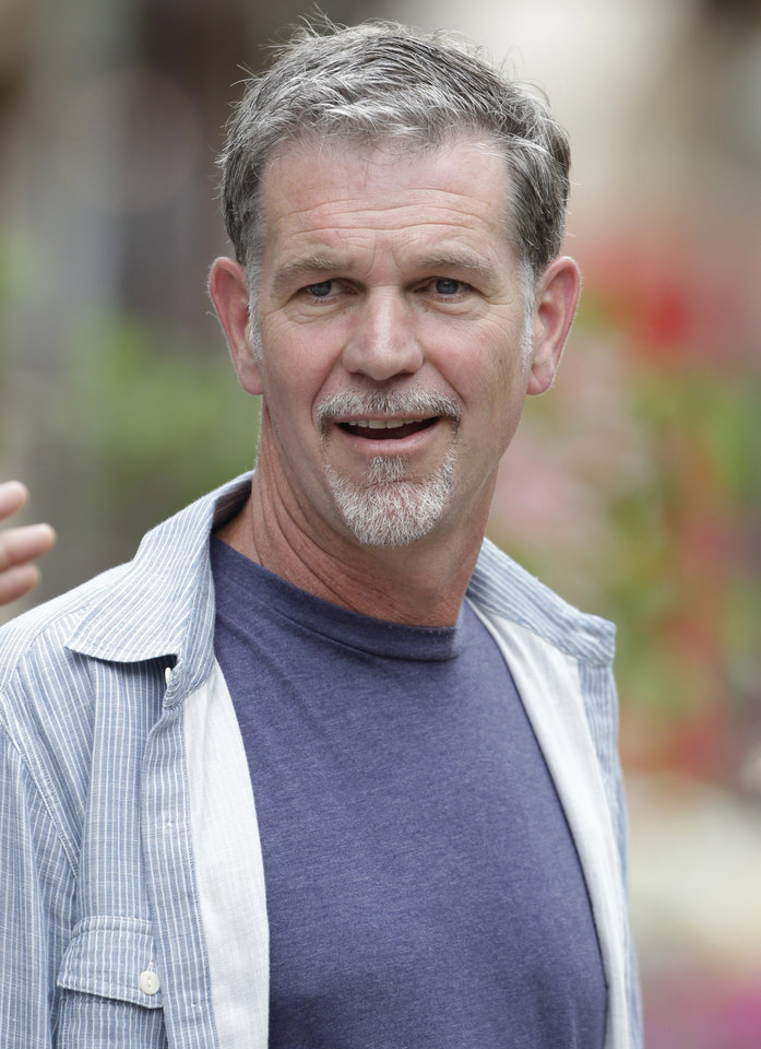 "FILE - In this July 11, 2012 file photo, Netflix CEO Reed Hastings attends the Allen & Company Sun Valley Conference in Sun Valley, Idaho. Netflix Inc. is facing scrutiny from government regulators for a Facebook post by Hastings in July that may have boosted the online video company's stock price. Neflix said Thursday, Dec. 6, 2012, that the Securities and Exchange Commission informed it that its staff is recommending civil action be brought against the company and Hastings. The reason: Hastings' July 3 post in which he said Netflix's online video viewing ""exceeded 1 billion hours for the first time ever in June."" (AP Photo/Paul Sakuma, File)"