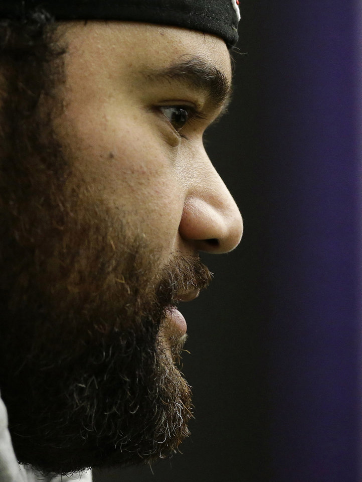 Photo - Baltimore Ravens defensive end Haloti Ngata speaks at a news conference at the team's practice facility in Owings Mills, Md., Monday, Jan. 14, 2013. The Ravens are scheduled to face the New England Patriots in the AFC Championship on Sunday. (AP Photo/Patrick Semansky)