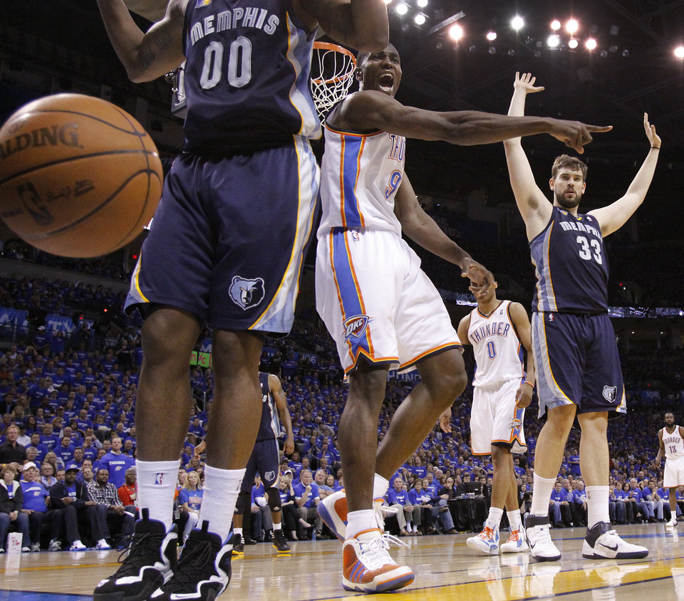 Oklahoma City's Serge Ibaka (9) calls for the ball to go to the Thunder during game two of the Western Conference semifinals between the Memphis Grizzlies and the Oklahoma City Thunder in the NBA basketball playoffs at Oklahoma City Arena in Oklahoma City, Tuesday, May 3, 2011. Photo by Chris Landsberger, The Oklahoman