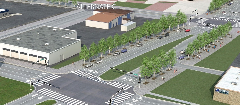 Photo -  Renderings provided to the public in 2012 for the Oklahoma City Boulevard showed bike lanes between Walker Avenue and E.K. Gaylord Boulevard.