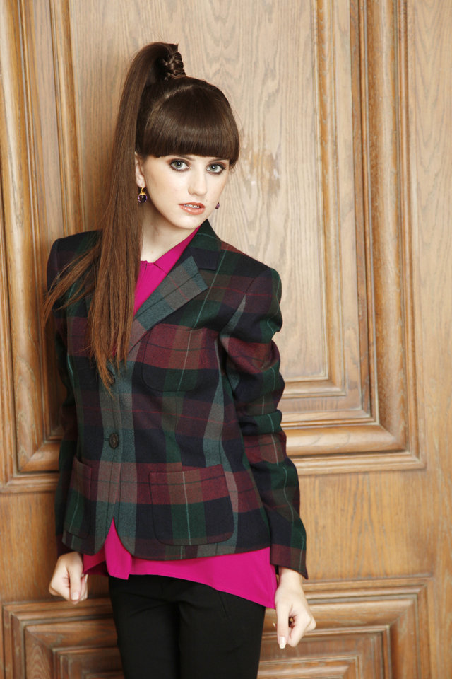 Photo - Theory plaid jacket, blouse and Vince slim pant. Available at CK & Co. Makeup by L.J. Hill. Hair by Dianne Truong, Trichology Salon. Photo by Doug Hoke, The Oklahoman     DOUG HOKE