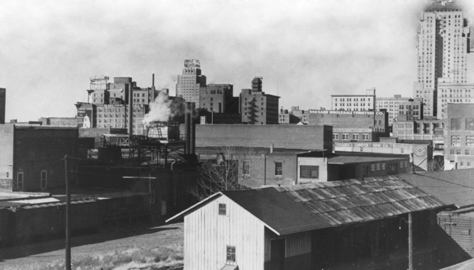 OKLAHOMA CITY / SKY LINE / OKLAHOMA / 1927:  Looking SW from Walnut Avenue viaduct.  Staff photo by Alphia O. Hart.  Photo dated 12/09/1938 and published 03/05/1939 in The Daily Oklahoman.