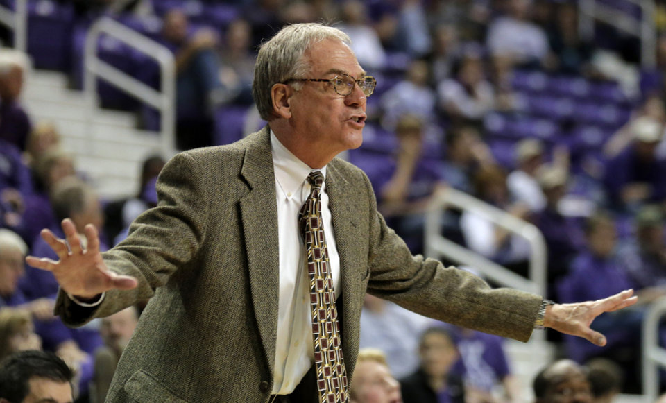 Photo - South Carlona Upstate coach Eddie Payne talks to his players during the first half of an NCAA college basketball game against Kansas State, Sunday, Dec. 2, 2012, in Manhattan, Kan. (AP Photo/Charlie Riedel)